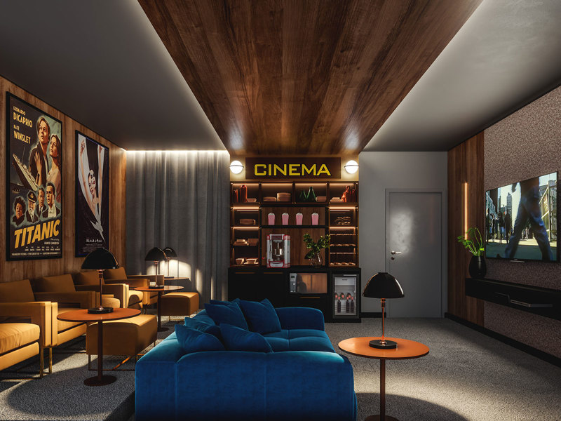 Perspectiva ilustrada home cinema